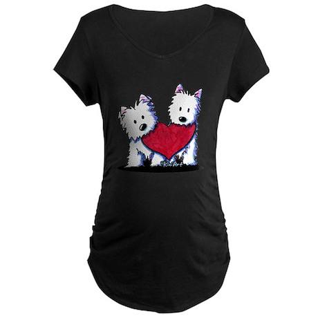Heartfelt Westies Maternity Dark T-Shirt
