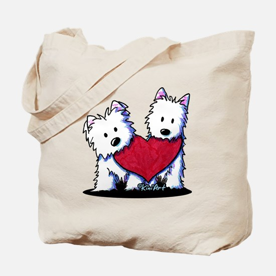 Heartfelt Westies Tote Bag