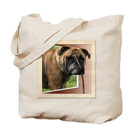 TumTum bulldog on rolled paper Tote Bag