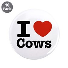 """I Love Cows 3.5"""" Button (10 pack)"""