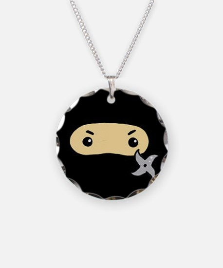 Tiny Ninja Necklace Circle Charm