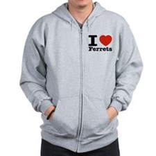 I Love Ferrets Zip Hoodie