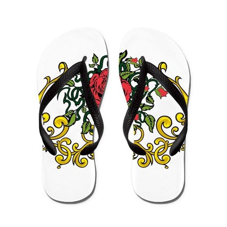 Red Roses and Gold Flip Flops
