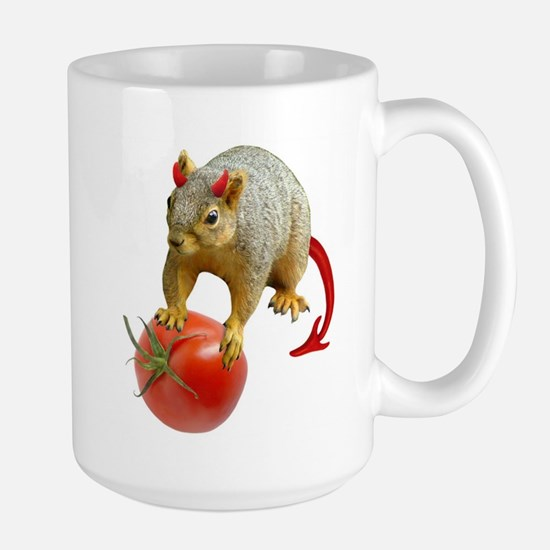Devil Squirrel Stealing Tomato Large Mug
