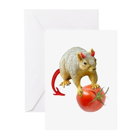 Devil Squirrel Stealing Tomato Greeting Cards (Pk