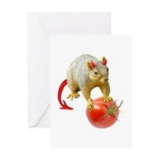 Devil Squirrel Stealing Tomato Greeting Card