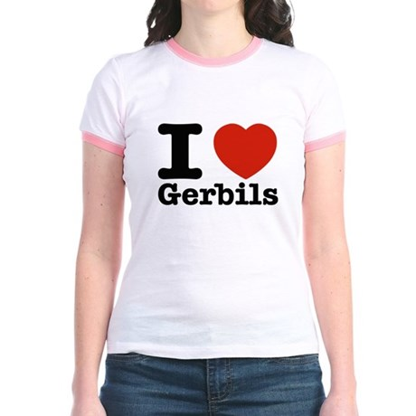 I Love Gerbils Jr. Ringer T-Shirt