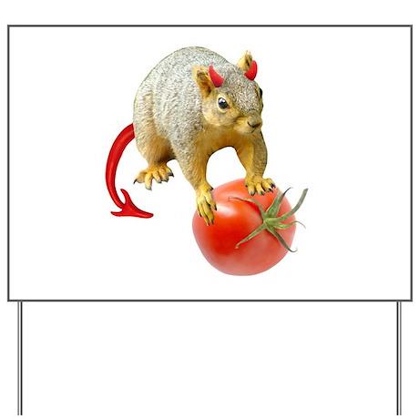Devil Squirrel Stealing Tomato Yard Sign