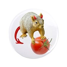 """Devil Squirrel Stealing Tomato 3.5"""" Button"""
