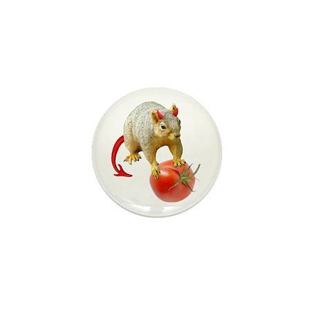 Devil Squirrel Stealing Tomato Mini Button