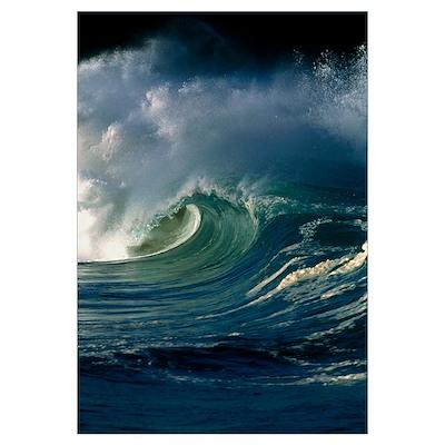 Wind-blown wave breaking in Hawaii Poster