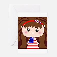 Cute American Flag July 4th Girl Greeting Card