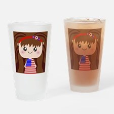 Cute American Flag July 4th Girl Drinking Glass