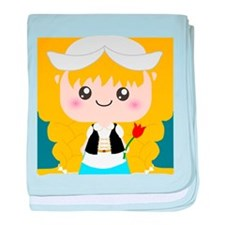 Cute Cartoon Girl from Holland baby blanket