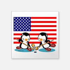 Cute Penguins Square Sticker 3&Quot; X 3&Quot;