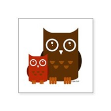 "Cute Owl Square Sticker 3"" x 3"""