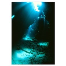 Underwater cave Framed Print