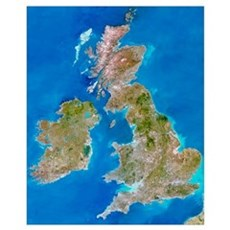 True-colour satellite image of the British Isles Canvas Art