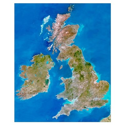 True-colour satellite image of the British Isles Framed Print