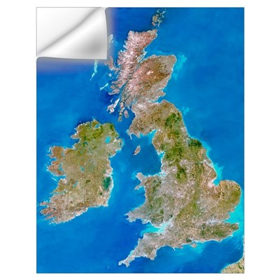 True-colour satellite image of the British Isles Wall Decal
