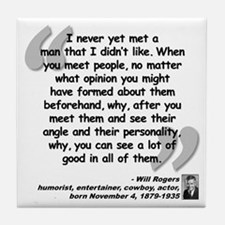 Rogers People Quote Tile Coaster