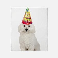 Bichon Frise Birthday Throw Blanket