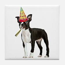 Boston Terrier Birthday Tile Coaster