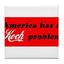 Koch Problem Black Tile Coaster
