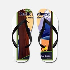Pacific Northwest Travel Poster 2 Flip Flops