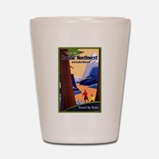 Pacific Northwest Travel Poster 2 Shot Glass