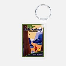 Pacific Northwest Travel Poster 2 Keychains