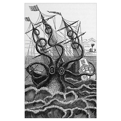 Octopus attacking a ship Poster