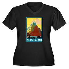 New Zealand Travel Poster 7 Women's Plus Size V-Ne