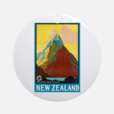 New Zealand Travel Poster 7 Ornament (Round)