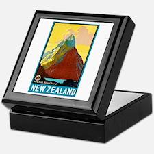 New Zealand Travel Poster 7 Keepsake Box