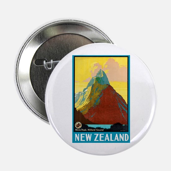 """New Zealand Travel Poster 7 2.25"""" Button"""