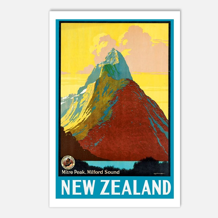 New Zealand Travel Poster 7 Postcards (Package of