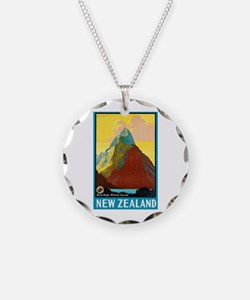 New Zealand Travel Poster 7 Necklace