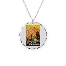 New Zealand Travel Poster 9 Necklace