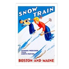 New England Travel Poster 3 Postcards (Package of