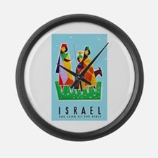 Israel Travel Poster 2 Large Wall Clock