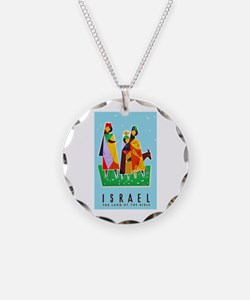 Israel Travel Poster 2 Necklace