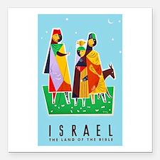 "Israel Travel Poster 2 Square Car Magnet 3"" x 3"""