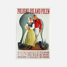 Poland Travel Poster 3 Rectangle Magnet