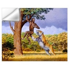 Scimitar cat attacking a hominid Wall Decal