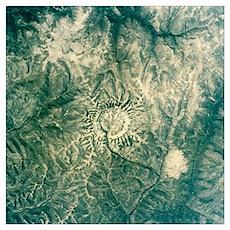 Satellite radar image of Gora Konder impact crater Poster