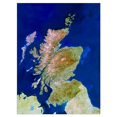 Satellite image of Scotland Poster