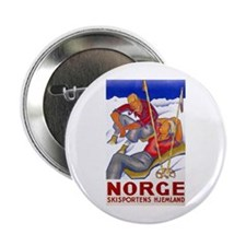 """Norway Travel Poster 1 2.25"""" Button"""