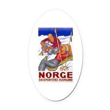 Norway Travel Poster 1 Oval Car Magnet