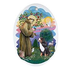 St Francis (ff) - Bernese Mt. Dog Ornament (Oval)